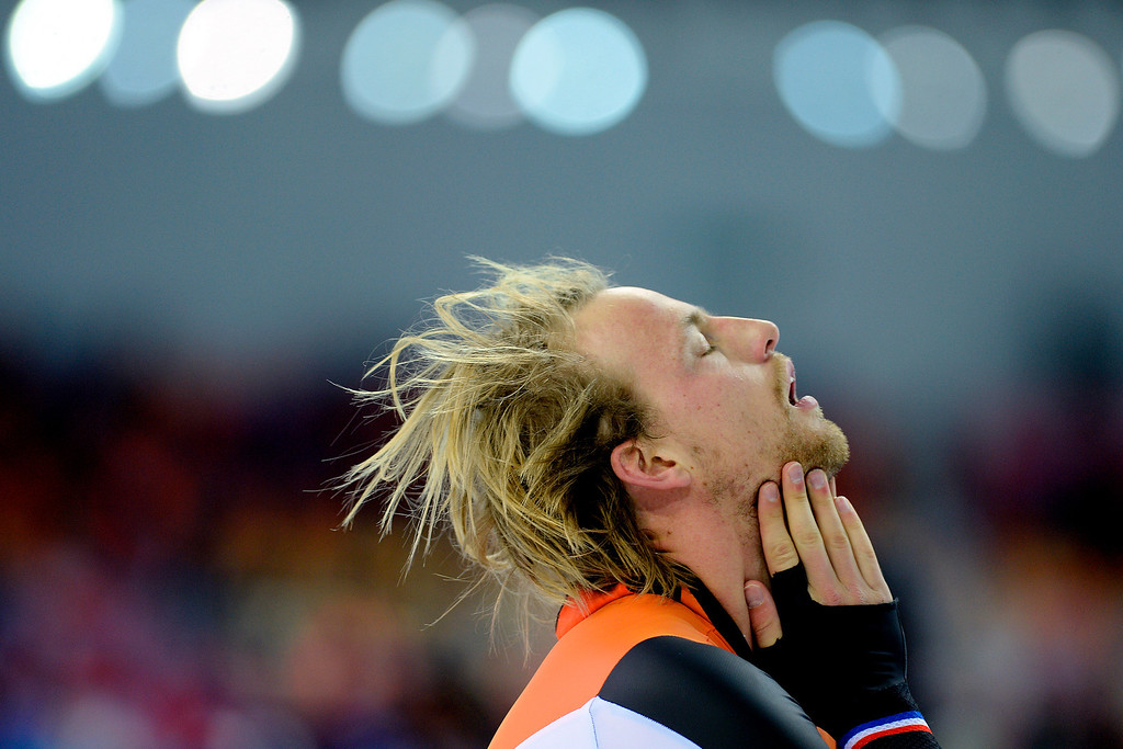 . Michel Mulder of the Netherlands reacts to capturing gold during the speed skating men\'s 500-meter at Adler Arena on Monday, February 10, 2014. (Photo by AAron Ontiveroz/The Denver Post)
