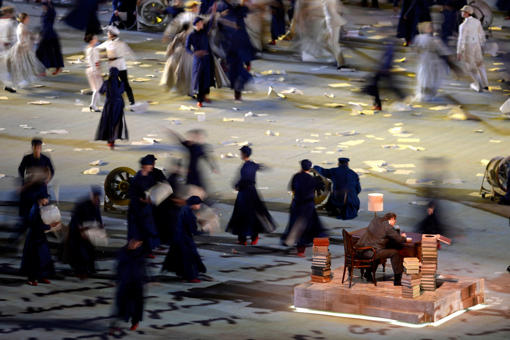 . Performers pay homage to Russia\'s rich history of literature during closing ceremony for the Sochi 2014 Winter Olympics. Sochi 2014 Winter Olympics on Sunday, February 23, 2014 at Fisht Olympic Stadium. (Photo by AAron Ontiveroz/ The Denver Post)