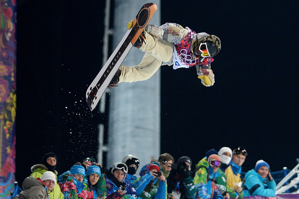 . U.S.A. rider Danny Davis rides during the men\'s snowboard halfpipe final on Tuesday, February 11, 2014. (Photo by AAron Ontiveroz/The Denver Post)