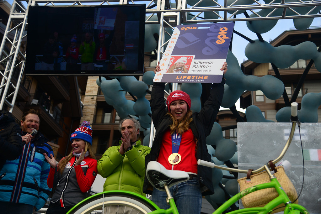 . VAIL, CO. - MARCH 28: Olympian Mikaela Shiffrin was gifted a lifetime season Epic Pass by Vail resorts at a welcome home celebration in her honor in Vail, March 28, 2014. The now 19-year-old Shiffrin became the youngest Slalom champion in Olympic Alpine Skiing history, with her .53 victory in Sochi over Austria\'s Marlies Schild. (Photo By Mahala Gaylord/The Denver Post)