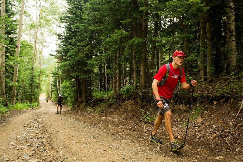. Mick Jurynec #147 comes out of the Chapman Gulch Aid Station near Mile 18 during the Hardrock 100 Endurance Run on July 11, 2014, in the San Juan Mountains, Colorado. (Photo by Daniel Petty/The Denver Post)