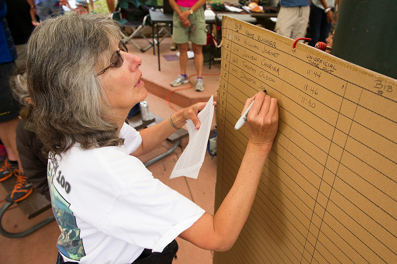 . Susan Noble, of Cortez, Colorado, writes the names of runners who have gone through the Telluride Aid Station near mile 28 in Town Park during the 100.5-mile Hardrock 100 Endurance Run on July 11, 2014, in the San Juan Mountains in Telluride, Colorado. (Photo by Daniel Petty/The Denver Post)