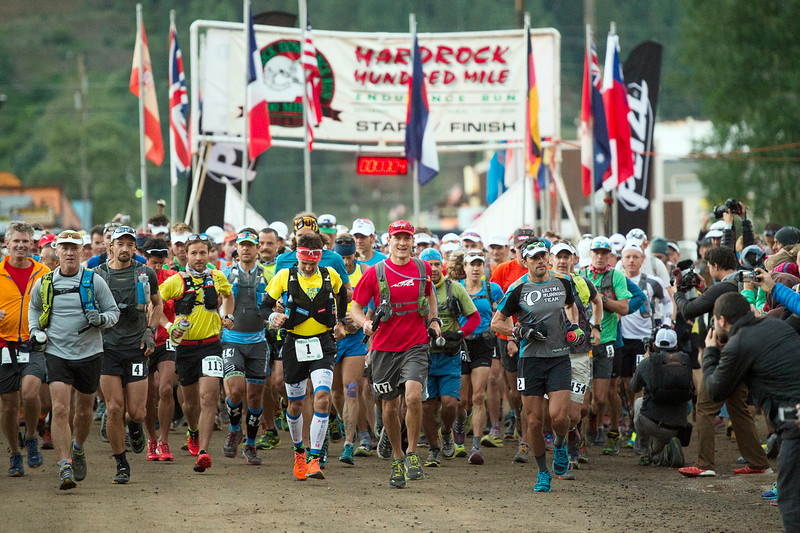 . Runners start the 100.5-mile Hardrock 100 Endurance Run on July 11, 2014, in the San Juan Mountains in Silveton, Colorado. The run included 140 starters. (Photo by Daniel Petty/The Denver Post)