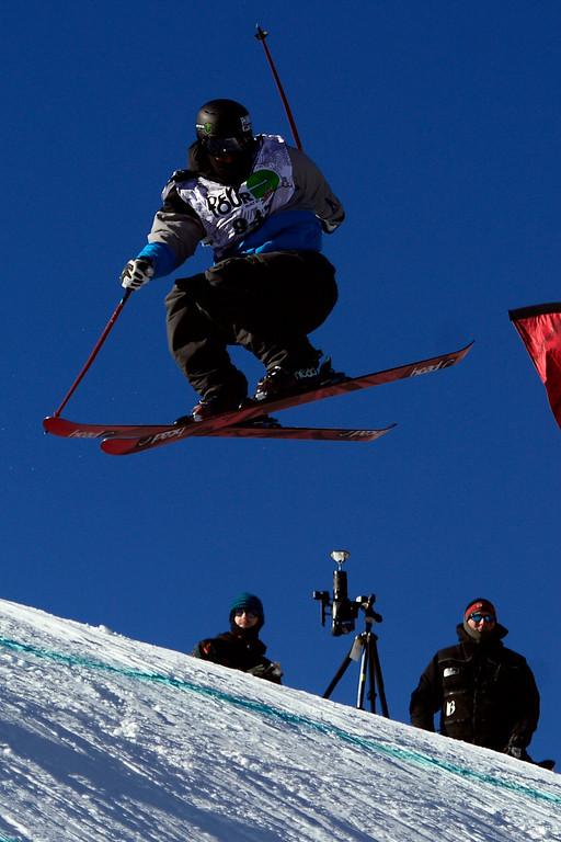 . Robert Franco skis during the men\'s ski slopestyle at Breckenridge Ski Resort on Sunday, December 15, 2013. (Photo by AAron Ontiveroz/The Denver Post)