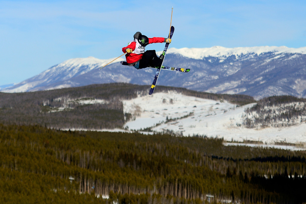 . Alex Schlopy skis during the men\'s ski slopestyle at Breckenridge Ski Resort on Sunday, December 15, 2013.(Photo by AAron Ontiveroz/The Denver Post)