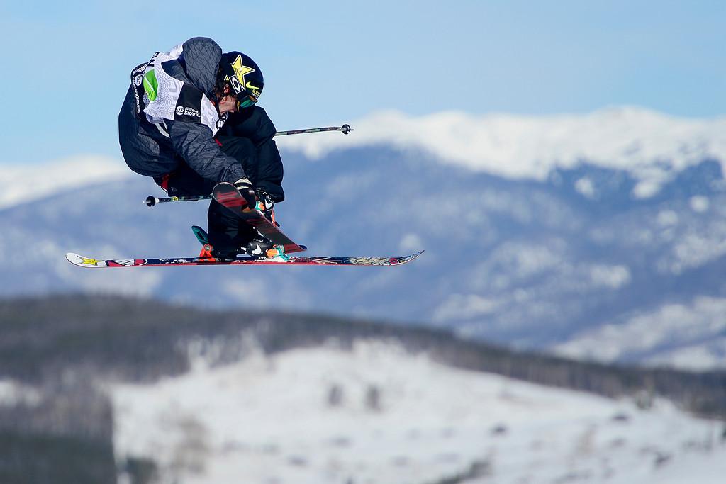 . Sammy Carlson skis during the men\'s ski slopestyle finalduring the Dew Tour men\'s ski slopestyle at Breckenridge Ski Resort on Sunday, December 15, 2013.(Photo by AAron Ontiveroz/The Denver Post)