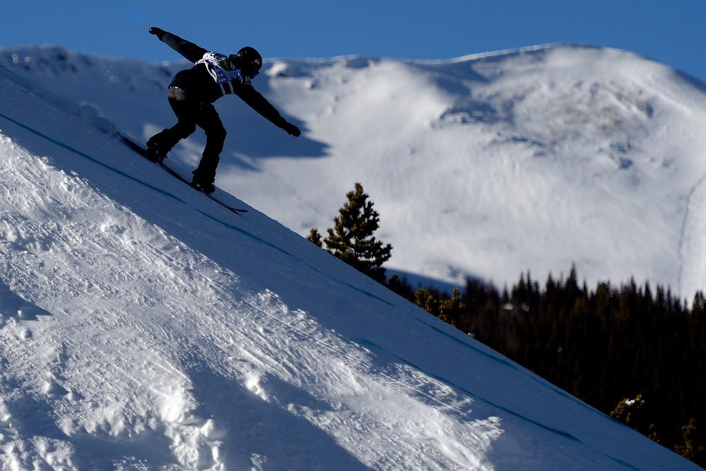 . Ulrik Badertscher rides during the men\'s snowboard slopestyle at Breckenridge Ski Resort on Sunday, December 15, 2013.  (Photo by AAron Ontiveroz/The Denver Post)