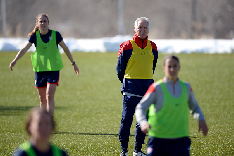 . GOLEN, CO - APRIL 03: United States women\'s national team coach Tom Sermanni looks on as his team practices April 3, 2014 at the Colorado School of Mines as they prepare for their exhibition game against China at Dicks Sporting Goods Park.  (Photo by John Leyba/The Denver Post)