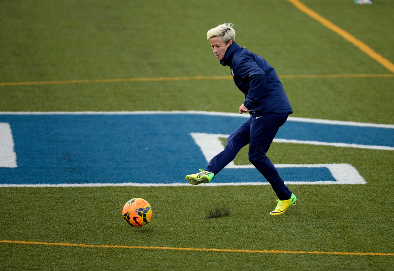 . GOLEN, CO - APRIL 03: Megan Rapinoe MF of the USA women\'s soccer team, runs through drills during their practice April 3, 2014 at the Colorado School of Mines as they prepare for their exhibition game against China at Dicks Sporting Goods Park.  (Photo by John Leyba/The Denver Post)