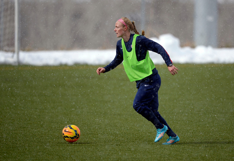 . GOLEN, CO - APRIL 03: Becky Sauerbrunn looks to pass as the USA women\'s soccer team practices April 3, 2014 at the Colorado School of Mines as they prepare for their exhibition game against China at Dicks Sporting Goods Park.  (Photo by John Leyba/The Denver Post)
