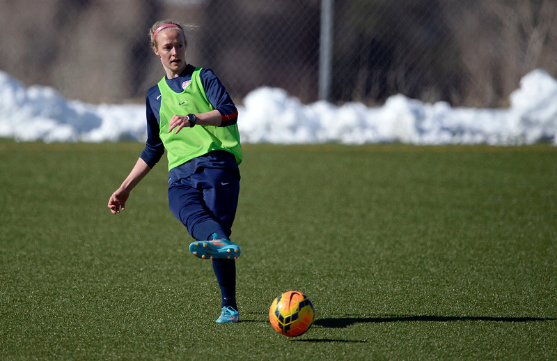 . GOLEN, CO - APRIL 03: Becky Sauerbrunn of the USA women\'s soccer team practices April 3, 2014 at the Colorado School of Mines as they prepare for their exhibition game against China at Dicks Sporting Goods Park.  (Photo by John Leyba/The Denver Post)