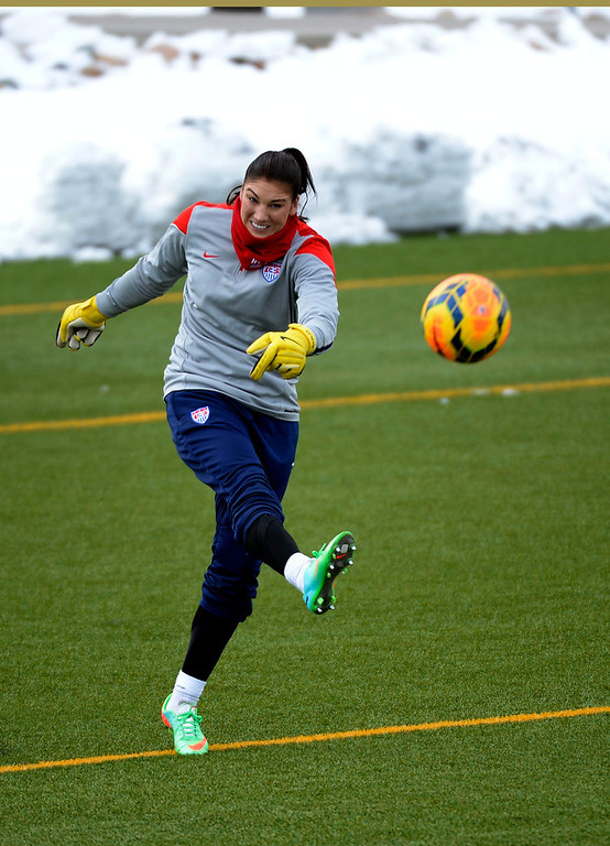 . GOLEN, CO - APRIL 03: Hope Solo GK of the USA women\'s soccer team, kicks the ball down field during their practice April 3, 2014 at the Colorado School of Mines as they prepare for their exhibition game against China at Dicks Sporting Goods Park.  (Photo by John Leyba/The Denver Post)