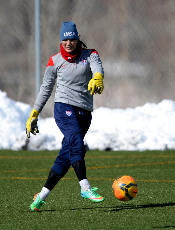 . GOLEN, CO - APRIL 03: Hope Solo GK of the USA women\'s soccer team practices April 3, 2014 at the Colorado School of Mines as they prepare for their exhibition game against China at Dicks Sporting Goods Park.  (Photo by John Leyba/The Denver Post)