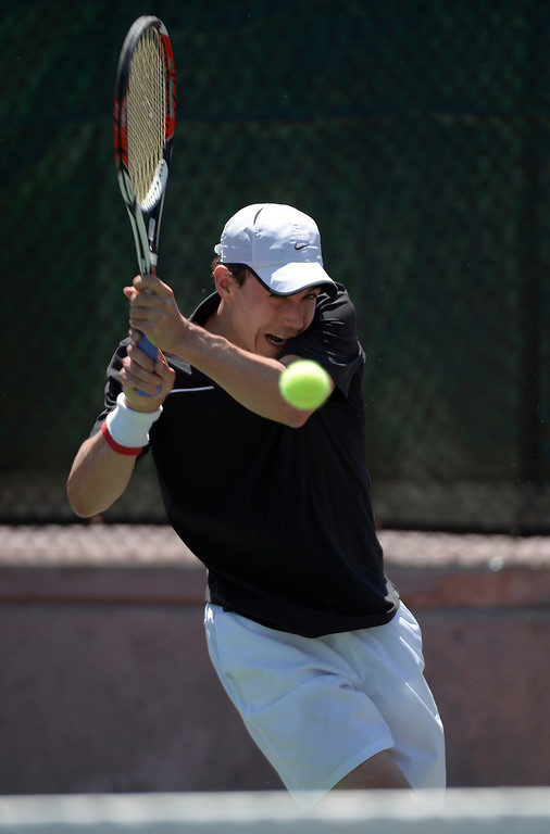 . DENVER, CO. - JUNE 23:  Richard Johnson hits a return shot back to Mads Hegelund in the Men\'s Finals in the Denver City Open at the Denver Tennis Club June 23, 2013. Hegelund defeated Johnson 6-2, 3-6, 6-4 to win the Finals. (Photo By John Leyba/The Denver Post)