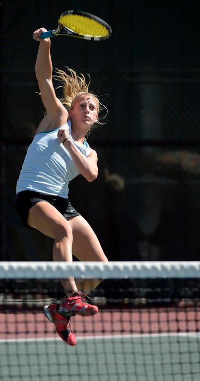 . DENVER, CO. - JUNE 23:  Lauren Strasburger hits her return back to Erin Gebes during the Women\'s Finals in the Denver City Open at the Denver Tennis Club JUNE 23, 2013. Strasburger defeated Gebes 1-6, 6-2, 6-3 to win the Denver City Open.(Photo By John Leyba/The Denver Post)