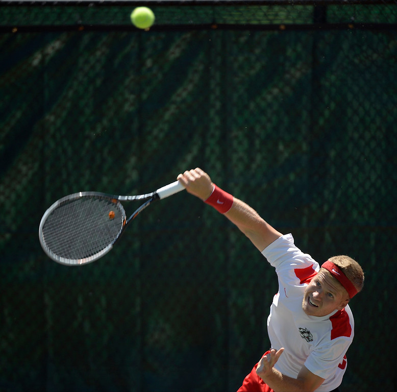 . DENVER, CO. - JUNE 23:  Mads Hegelund serves to Richard Johnson in the Men\'s Finals in the Denver City Open at the Denver Tennis Club June 23, 2013. Hegelund defeated Johnson 6-2, 3-6, 6-4 to win the Finals. (Photo By John Leyba/The Denver Post)