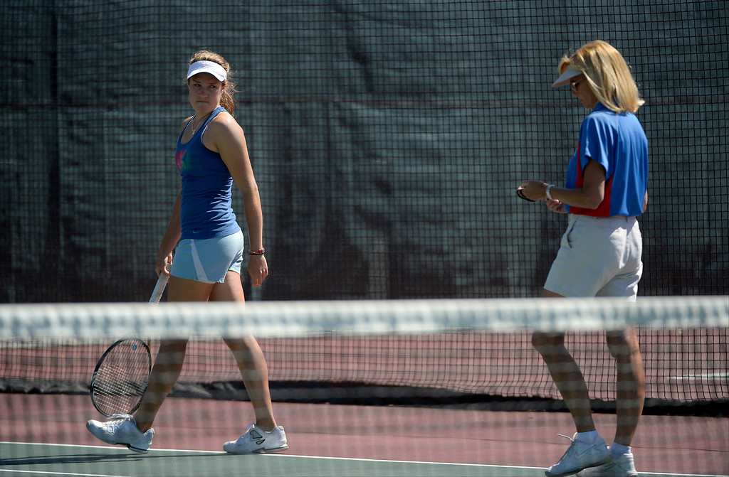 . DENVER, CO. - JUNE 23:  Umpire Patti Bowman (R) gets a look from Erin Gebes after she overturned a call during the Women\'s Finals in the Denver City Open against Lauren Strasburger at the Denver Tennis Club June 23, 2013. Gebes was defeated by Strasburger 1-6, 6-2, 6-3 in their finals. (Photo By John Leyba/The Denver Post)