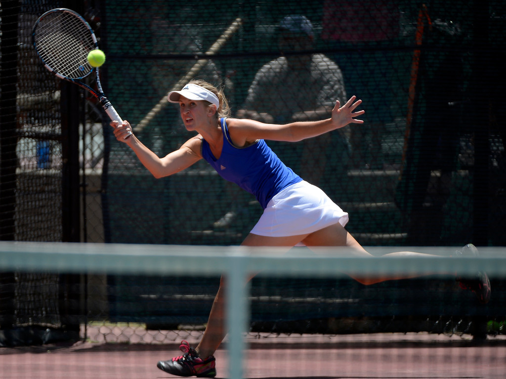 . DENVER, CO. - JUNE 23:  Amanda Johnson hits a return shot during their doubles finals match in the Denver City Open at the Denver Tennis Club JUNE 23, 2013.  Strasburger, Johnson defeated Middleton/ Monaghan 6-2. 6-4. (Photo By John Leyba/The Denver Post)