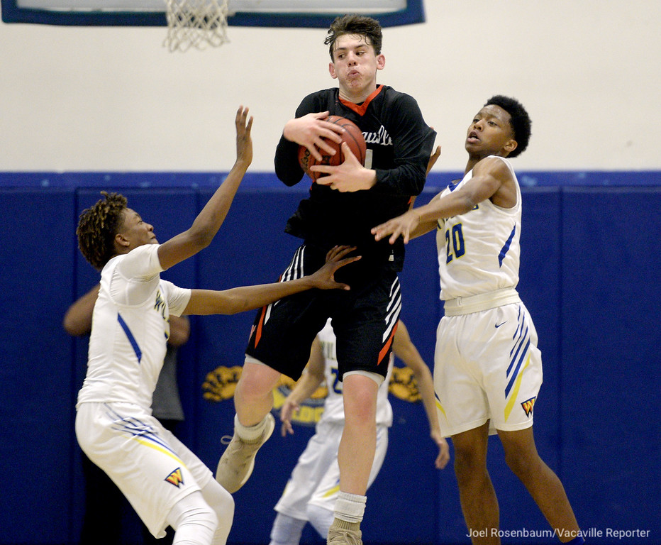 . Vaca High\'s Zack Perlstein is fouled a he grabs an in-bounds pass with seven seconds left in the game. Perlstein would miss his free-throw but ended up winning the game for the Bulldogs when he drained a three-point shot from just past halfcourt as time expired.