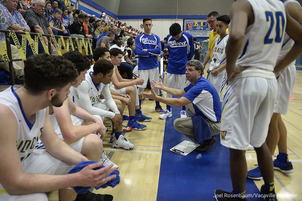 . Will C. Wood head coach, Mark Wudel uses a timeout to calm down his players late in the fourth quarter.