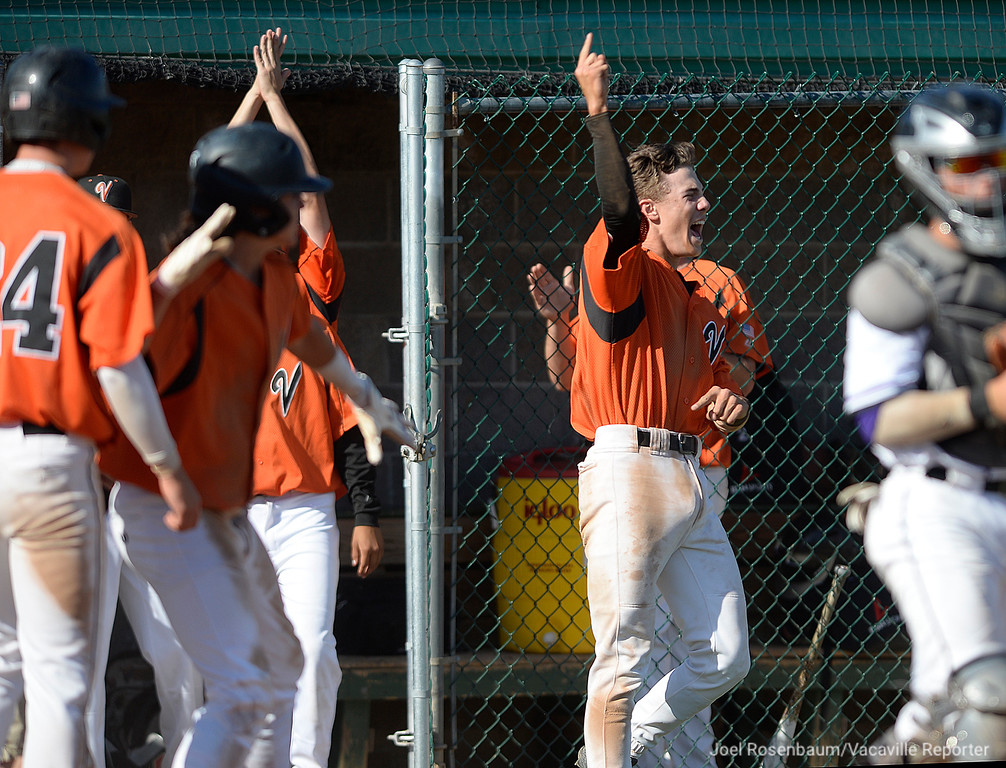 . The Vaca High bench erupts in cheers for Cole Elvis after his double broke a 1-1 tie in the fifth inning of the \'Dogs 11-2 rout of #1 seed Franklin High School of Elk Grove Tuesday in the elimination round of the 2018 CIF Sac Joaquin Section Division I Championships at Union Stadium at Sacramento City College.