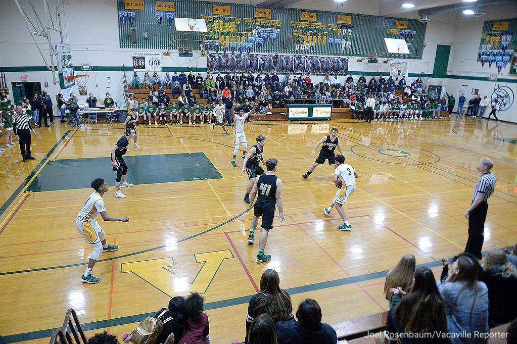 . The Vanden High School boys basketball team\'s season came to an end Friday night at the hands of Rio Americano High. loosing 57-51 in the second round of the 2018 CIF Sac-Joaquin Section Division III Championships at James Boyd Gymnasium.