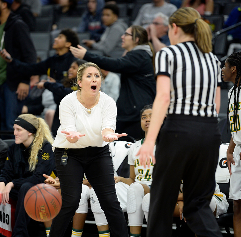 . Vanden co-head coach, Allison Johnson questions a referee�s call late in the third quarter of the Vikings 64-61 victory over Mater Dei High School in the CIF Girls Division II State Championships. Joel Rosenbaum -- The Reporter