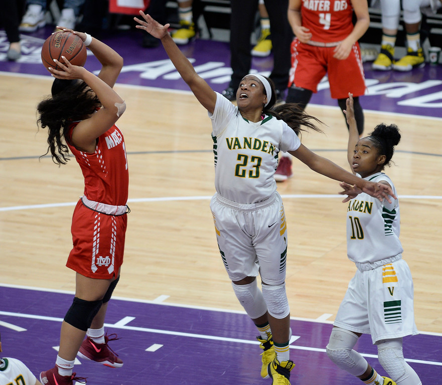 . Vanden\'s Julia Blackshell-Fair defends the basket as Mater Dei\'s Nicole Freeman makes a shot attempt during the second quarter. Joel Rosenbaum -- The Reporter