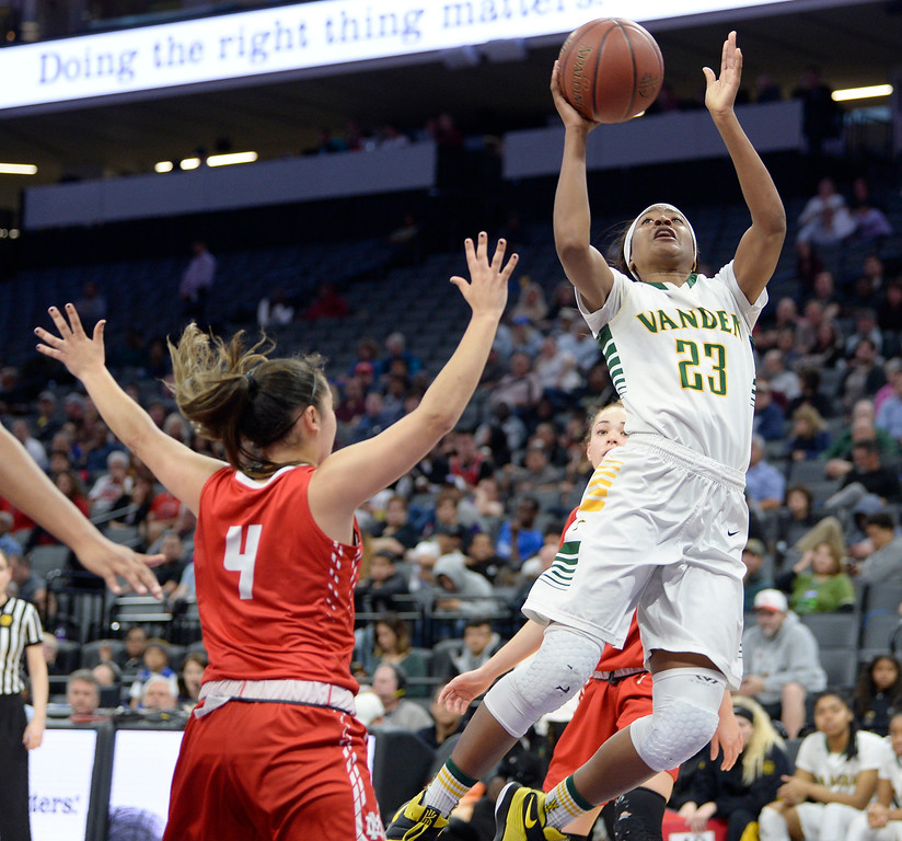 . Vanden�s Julia Blackshell-Fair drives to the basket over the pressure of Mater Dei�s Kendyll Toomey during the fourth quarter of the Vikings 64-61 victory over the Monarchs in the CIF Girls Division II State Championships Saturday at Golden 1 Center in Sacaramento. Joel Rosenbaum -- The Reporter