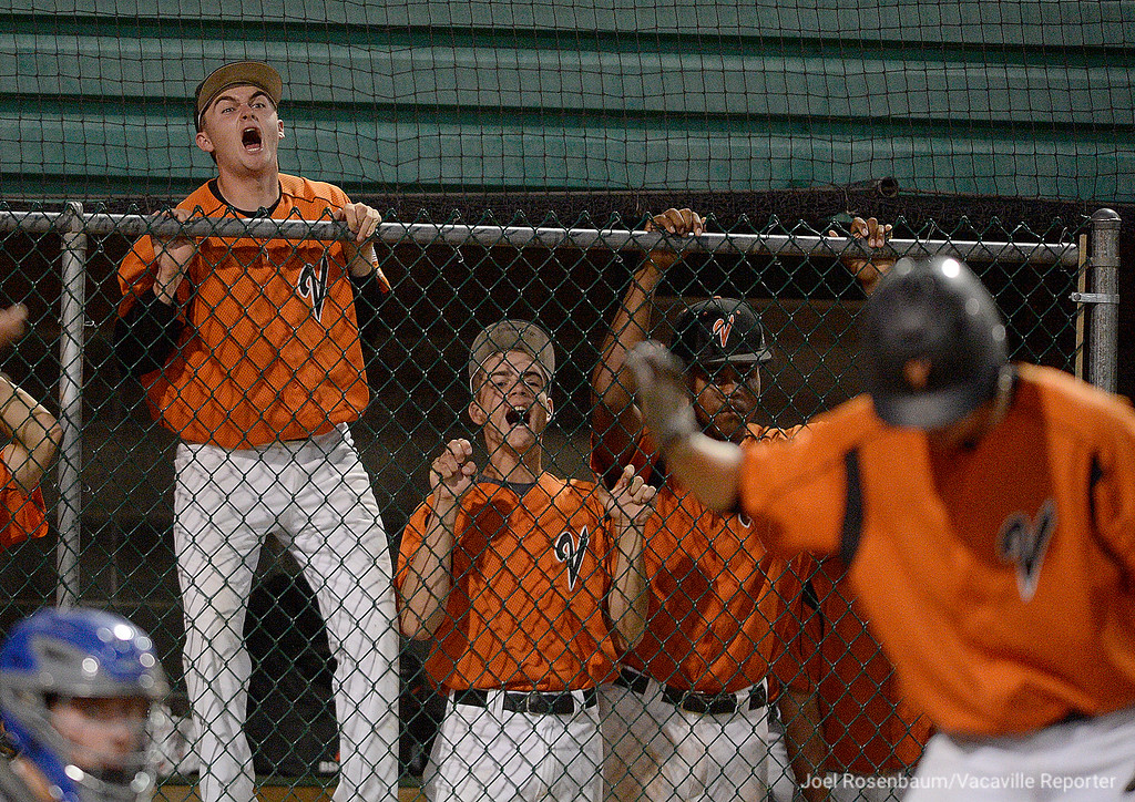 . Vacaville High\'s Brandon Chalk (left) leads his teammates on the bench as they cheer for Noah McCoy as he steps into the batter\'s box in the bottom of the second inning.