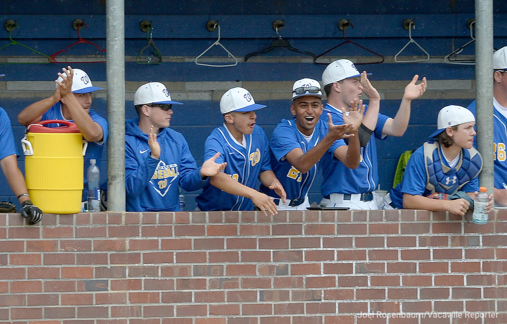 . The Will C. Wood bench erupts in cheers during the Wildcats third inning rally.