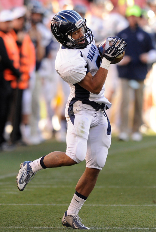 . Eagles\' wide receiver Marcus Wilson (3) caught a pass and ran it in for a touchdown in the first half.  The Valor Christian football team took on Fairview in the 5A championship game Saturday, November 30, 2013. Photo By Karl Gehring/The Denver Post