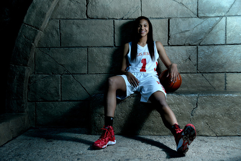 . DENVER, CO - APRIL 02: Regis Jesuit\'s Justine Hall poses for a portrait. All-state boys and girls basketball portraits at the Downtown Aquarium on Wednesday, April 2, 2014. (Photo by AAron Ontiveroz/The Denver Post)