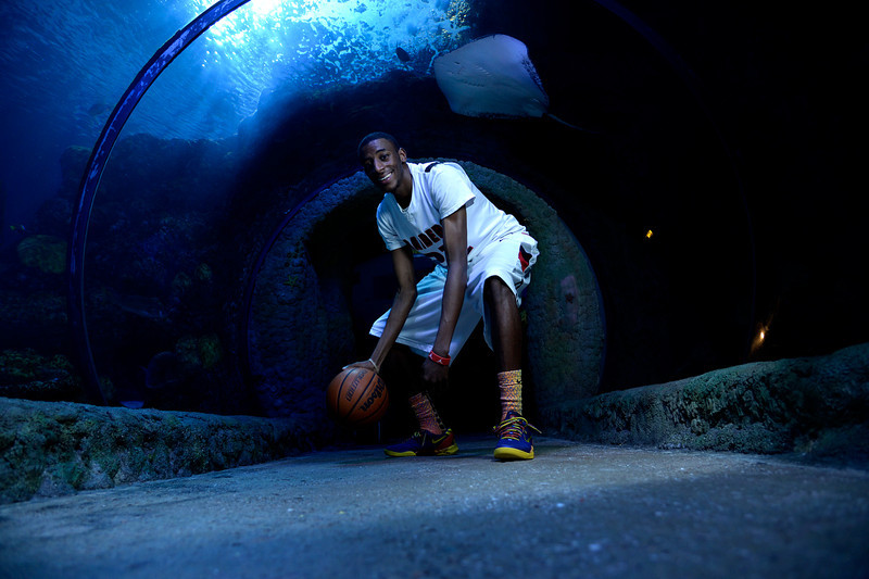 . DENVER, CO - APRIL 02: Rangeview\'s Jeremiah Paige poses for a portrait. All-state boys and girls basketball portraits at the Downtown Aquarium on Wednesday, April 2, 2014. (Photo by AAron Ontiveroz/The Denver Post)