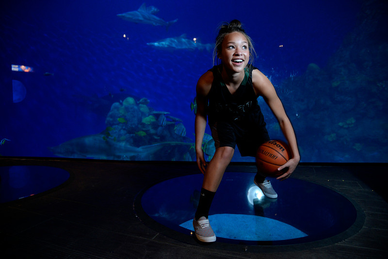 . DENVER, CO - APRIL 02: Fossil Ridge\'s Savannah Smith poses for a portrait. All-state boys and girls basketball portraits at the Downtown Aquarium on Wednesday, April 2, 2014. (Photo by AAron Ontiveroz/The Denver Post)