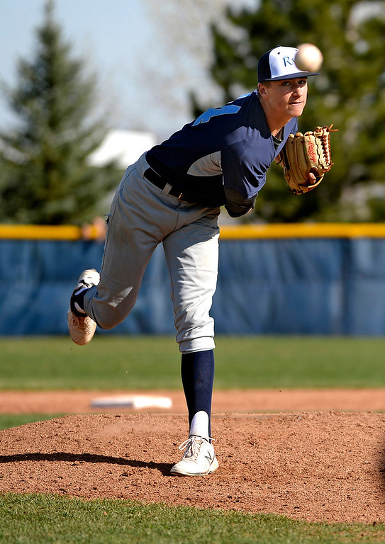 . Ralston Valley Mustangs pitcher Jordan Holloway warms up during the second inning of their game against the Columbine Rebels at Columbine High School in Littleton, Co on April 17, 2014. (Photo By Helen H. Richardson/ The Denver Post)