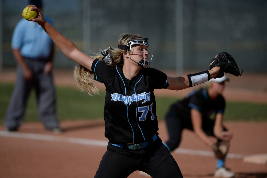 . Mountain Range High School pitcher, Hunter Huser, pitches against Westminster High School at Mountain Range during the championship game of the inaugural 2014 King of the Mountain 5A softball tournament at Mountain Range High School Saturday afternoon, August 30, 2014. (Photo By Andy Cross / The Denver Post)