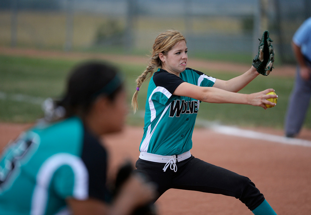 . Westminster High School pitcher, Marisa Kennedy pitches against Mountain Range High School during the championship game of the inaugural 2014 King of the Mountain 5A softball tournament at Mountain Range High School Saturday afternoon, August 30, 2014. (Photo By Andy Cross / The Denver Post)