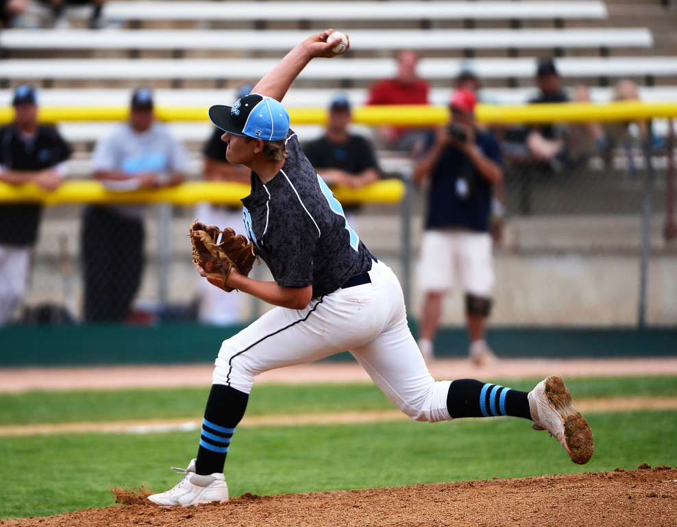 . DENVER, CO - MAY 25: Mountain View Mt. Lions pitcher,  Logan Letofski, pitches against the Pueblo West Cyclones during the 2013 4A Colorado State Championship Saturday May 25, 2013 at All City Stadium.  (Photo By Andy Cross/The Denver Post)