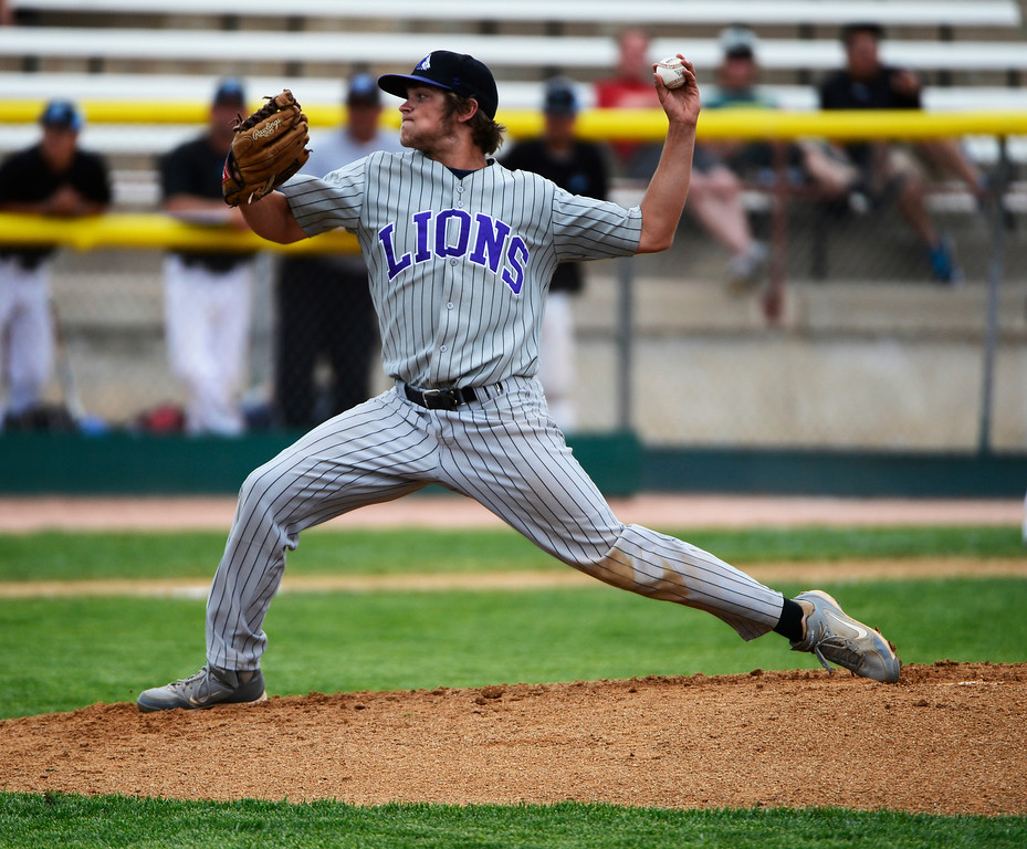 . DENVER, CO - MAY 25: Mountain View Mt. Lions pitcher, Alec Suarez, pitches against the Pueblo West Cyclones Saturday May 25, 2013 during the 4A Colorado State baseball championship game at All City Stadium.  (Photo By Andy Cross/The Denver Post)