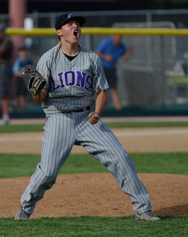 . DENVER, CO - MAY 25:  Mountain View High School pitcher, Alec Suarez, celebrates moments after defeating the Pueblo West Cyclones 7-6 in extra innings to win the 2013 4A Colorado State Championship Saturday afternoon May 25, 2013 at All City Stadium.  (Photo By Andy Cross/The Denver Post)