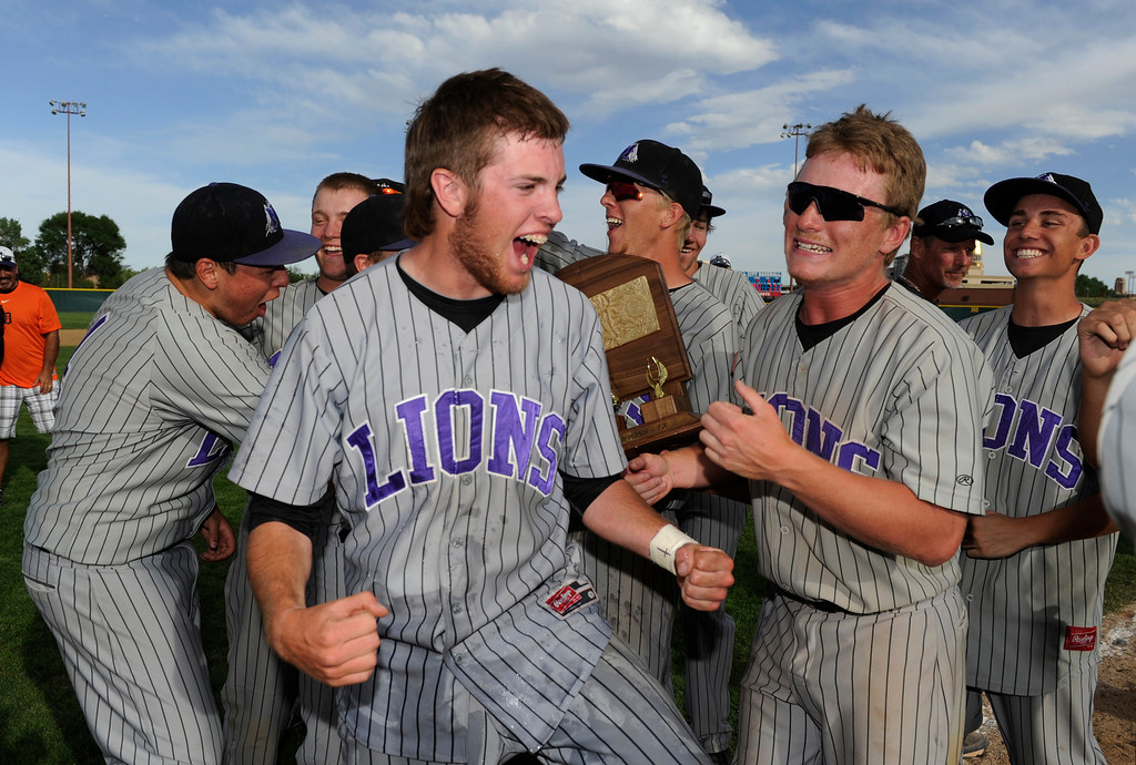. DENVER, CO - MAY 25:  The Mountain View Mt. Lions baseball team celebrate after defeating the Pueblo West Cyclones to win the 2013 4A Colorado State Championship 7-6 in extra innings Saturday May 25, 2013 at All City Stadium.  (Photo By Andy Cross/The Denver Post)