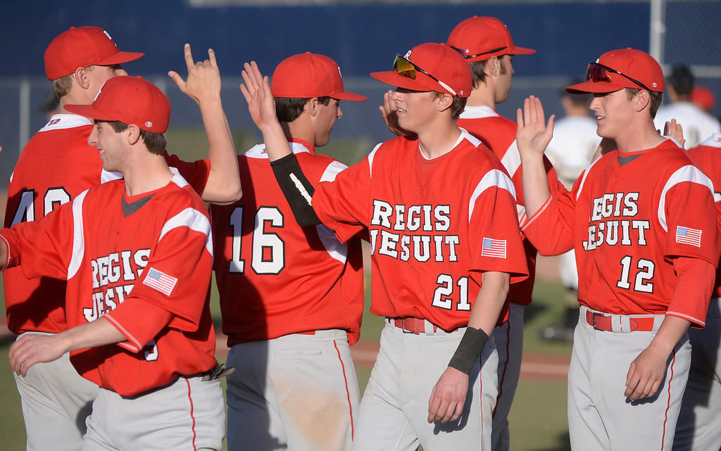 . The Regis Jesuit baseball team defeated Rock Canyon 10-1 Friday afternoon, April 11, 2014.  (Photo by Karl Gehring/The Denver Post)