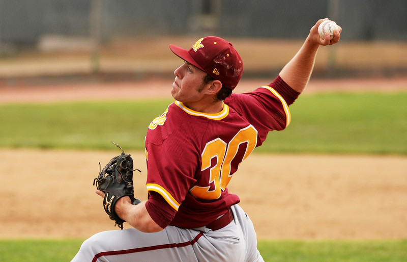 . Carl Stajduhar of Rocky Mountain High School (30) is pitching during the 5A state championship game against Regis Jesuit High School at All City Stadium. Denver, Colorado. May 24. 2014. Rocky Mountain High School won the 5A state championship game by 6-5. (Photo by Hyoung Chang/The Denver Post)