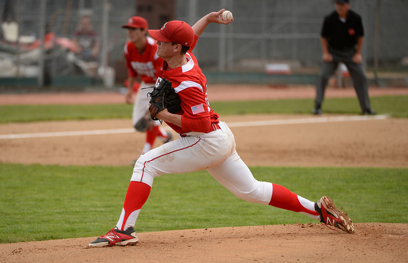 . Brent Schwarz of Regis Jesuit High School is pitching against Rocky Mountain High School during 5A State Championship game at All City Stadium. Denver, Colorado. May 24. 2014. Rocky Mountain High School won 6-5. (Photo by Hyoung Chang/The Denver Post)