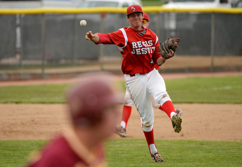 . Matt Schmidt of Regis Jesuit High School (16) is in action during 5A state championship game against Rocky Mountain High School at All City Stadium. Denver, Colorado. May 24. 2014. Rocky Mountain High School won the 5A state championship game 6-5. (Photo by Hyoung Chang/The Denver Post)