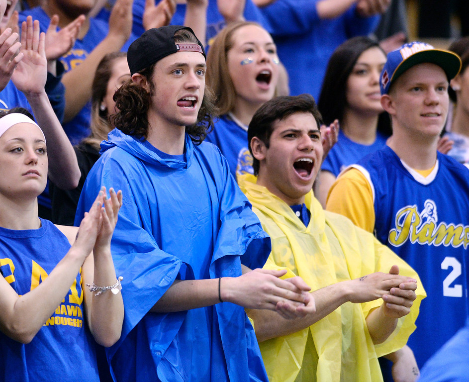 . Rams\' fans showed their spirit in the first half. The Rampart High School boy\'s basketball team defeated Cherokee Trail 67-64 Wednesday night, February 26, 2014. Photo By Karl Gehring/The Denver Post
