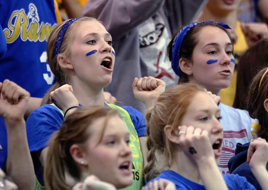 . Rampart students cheered a free throw in the second half. The Rampart High School boy\'s basketball team defeated Cherokee Trail 67-64 Wednesday night, February 26, 2014. Photo By Karl Gehring/The Denver Post