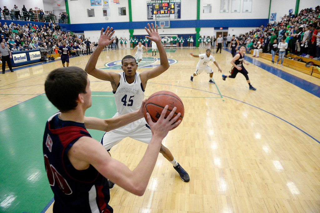 . Kingahnah Grant-Perry (45) of the Overland Trailblazers guards Cody Pittman (10) of the Dakota Ridge Eagles on an inbound pass during the first half. (Photo By AAron Ontiveroz/The Denver Post)