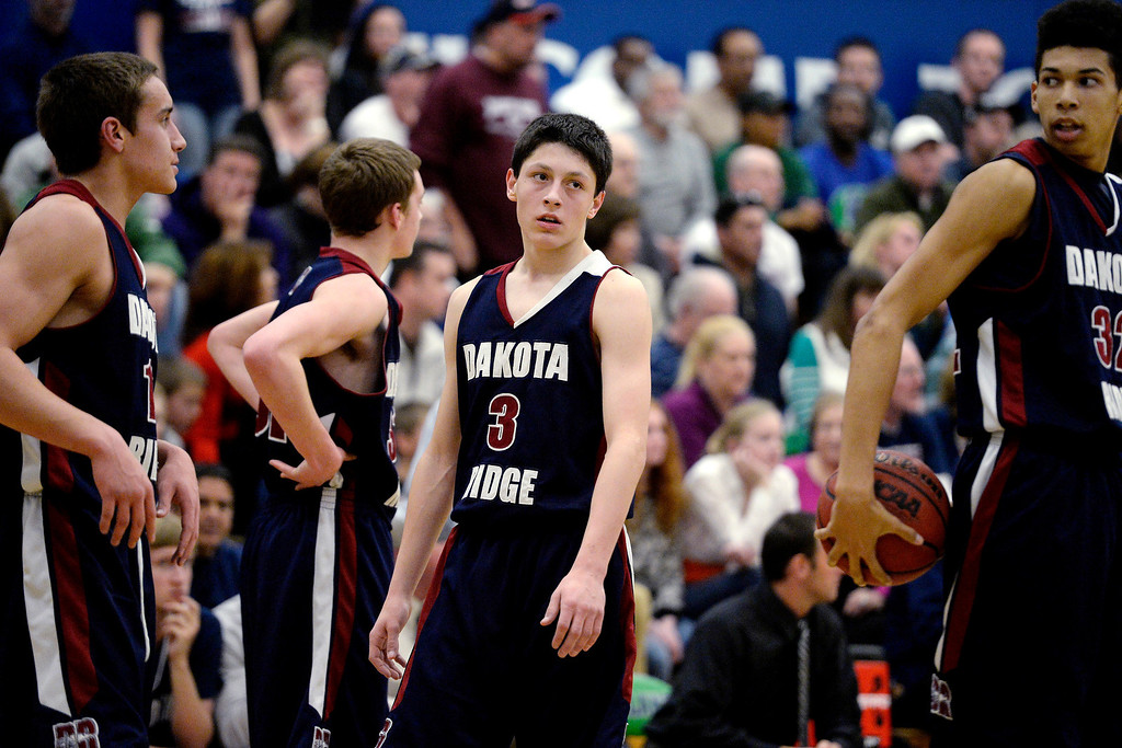 . Cambrian Antrillo (3) of the Dakota Ridge Eagles reacts to his team\'s play against the Overland Trailblazers during the first half. (Photo By AAron Ontiveroz/The Denver Post)